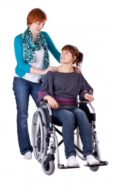 Two girls one on wheelchair