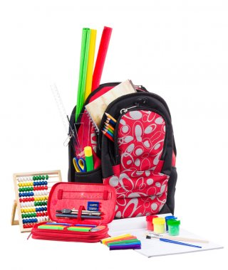 Black and red packback with school supplies
