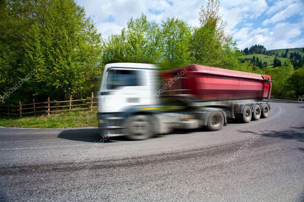 Motion blur of speeding truck