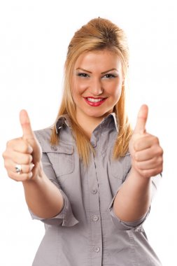 Business lady thumbs up