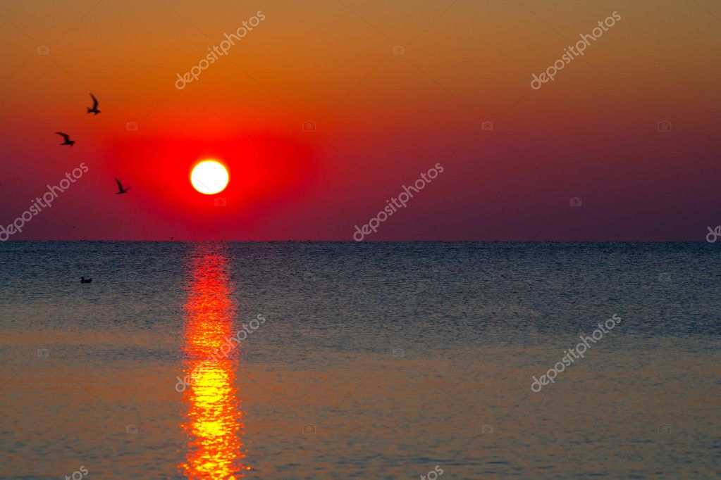 Sunrise over water
