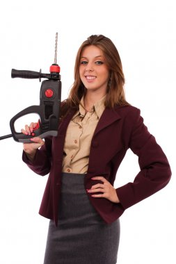 Concept image of a businesswoman with drilling machine
