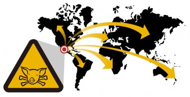 Warning sign of swine flu that extends from Mexico to the world. Vector available stock vector