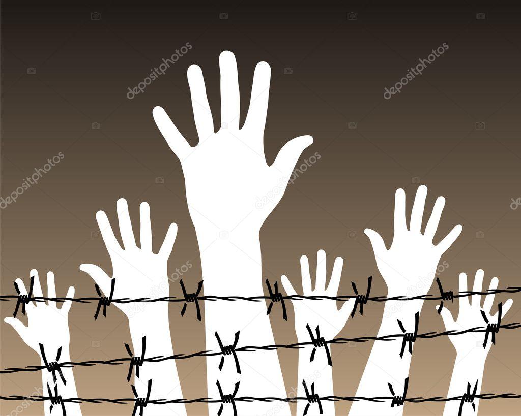 Hände hinter Stacheldraht Gefängnis — Stockvektor © cienpies #3112263