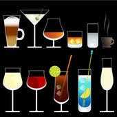 vektorové víno a koktejlové sklenice