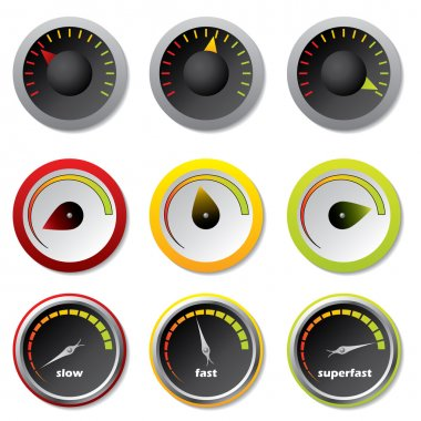 Speedometer icons for download buttons stock vector