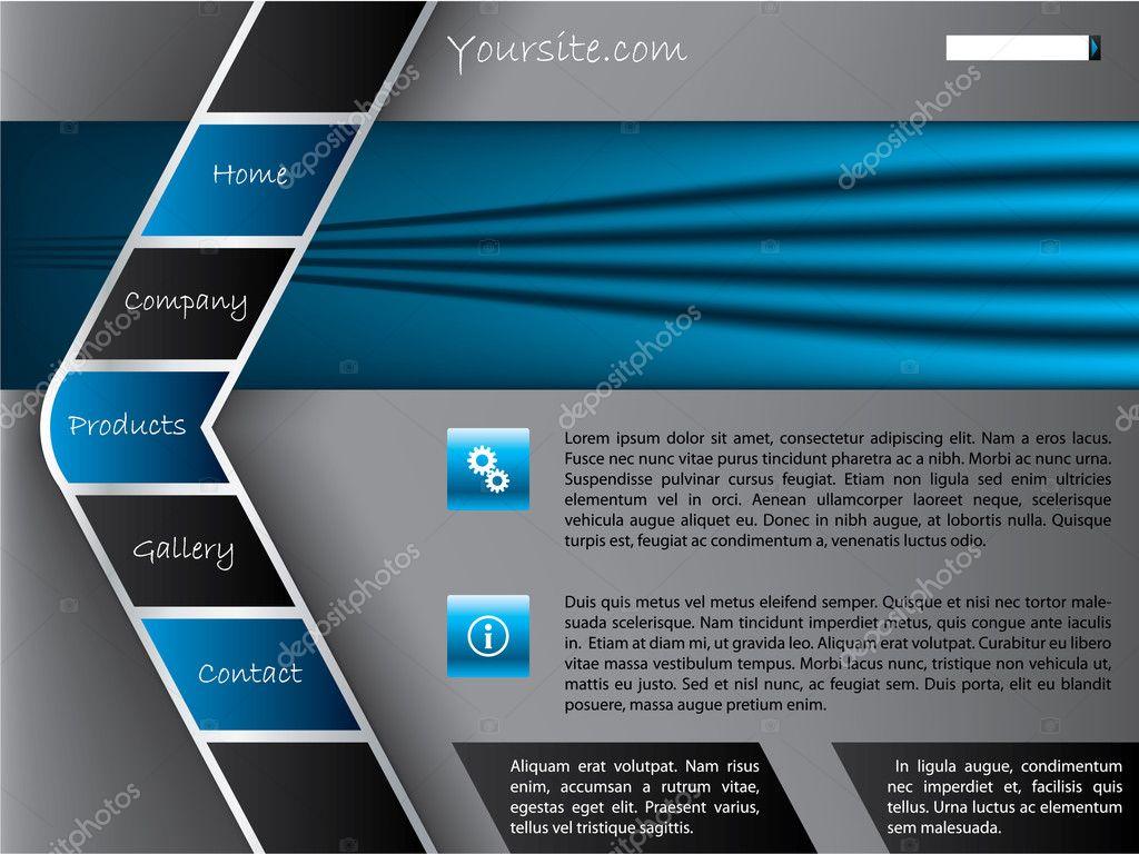 Mod le de site web gris bleu avec barre de boutons en for Site web de houseoftheweek
