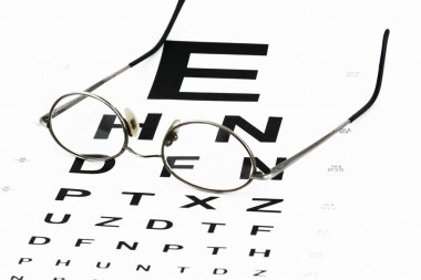 Eye chart with glasses