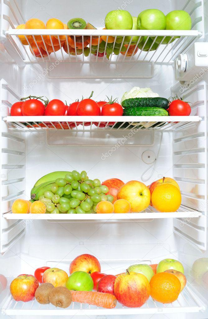 Fridge full of fruit and vegetables