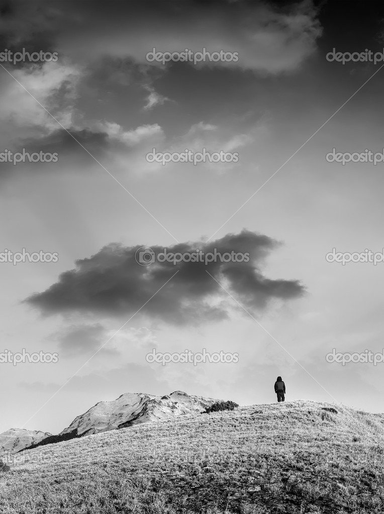 Landscape of man and mountain