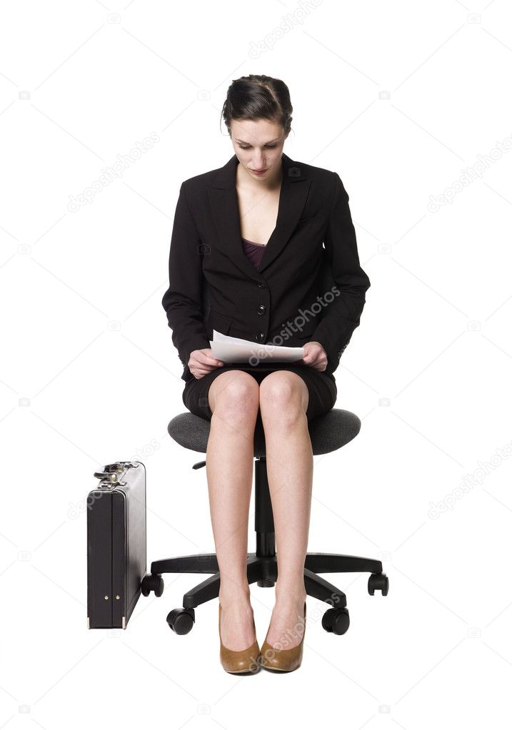 buisness woman sitting on a chair stock photo gemenacom 2961112. Black Bedroom Furniture Sets. Home Design Ideas
