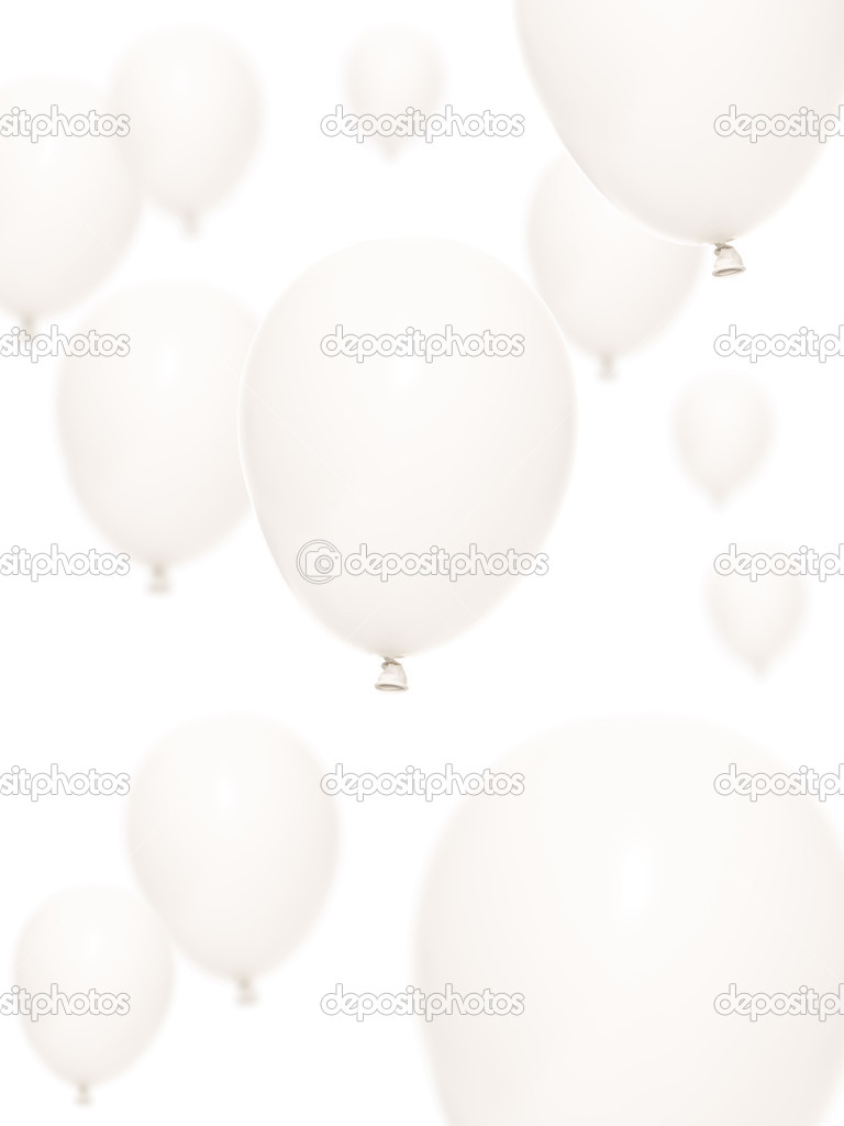 Several balloons isolated on white background