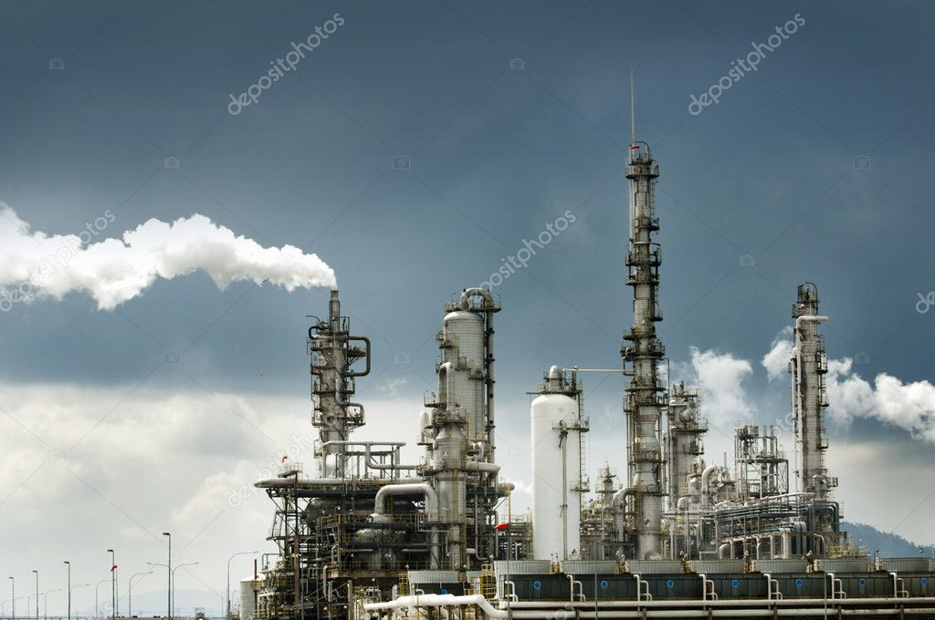 Oil refinery with smoke