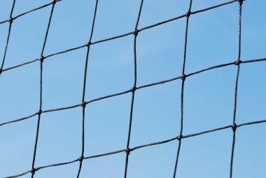 Close up view of the soccer net