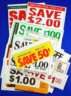 Stack of coupons concepts of saving money