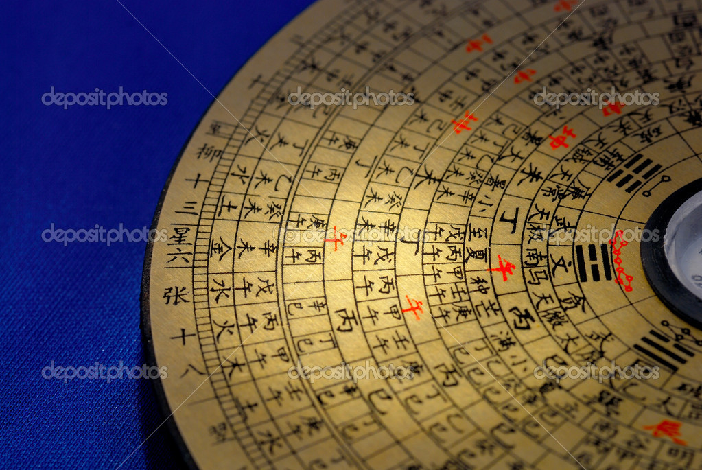 """Chinese Feng Shui compass focused on the Chinese word """"afternoon"""""""