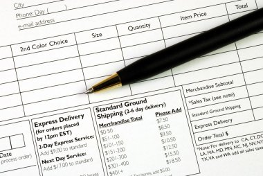 Fill in the order form concepts of making a purchase