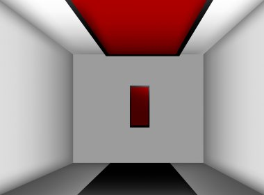 Empty room with picture, vector