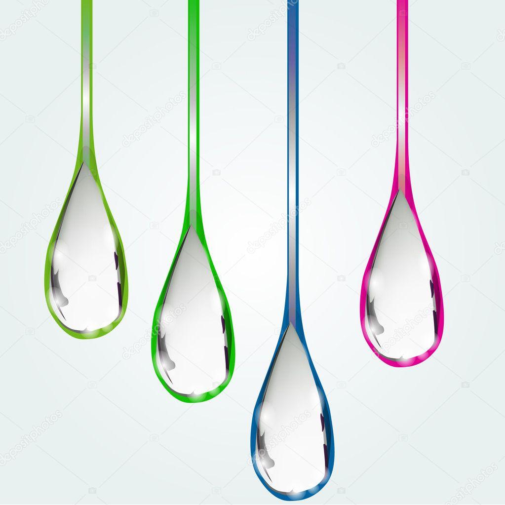 Set flowing drops. Vector illustration