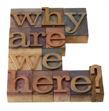 Philosophical question, why are we here , in vintage wooden letterpress printing blocks, stained by color inks, isolated on white stock vector