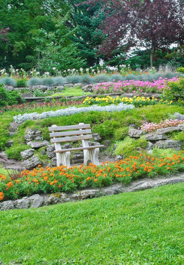 Summer park, bench in a garden, flowers, plants