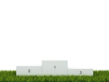 White podium on green grass