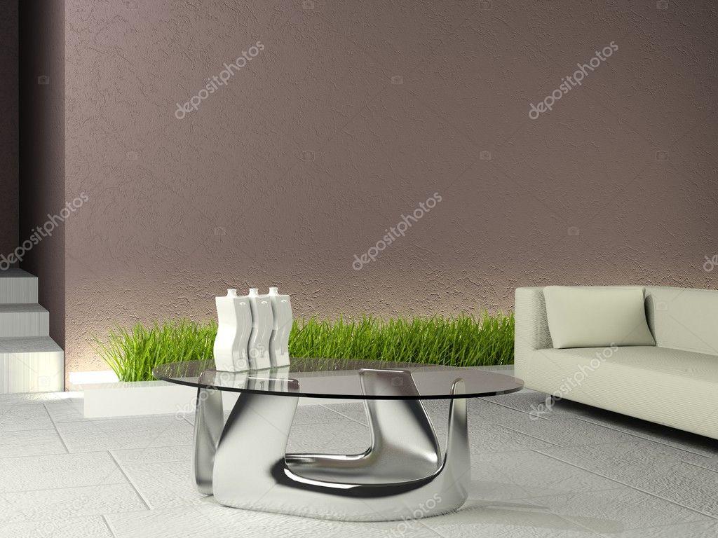 Minimalistisches interieur mit braunen wand ein u2014 stockfoto