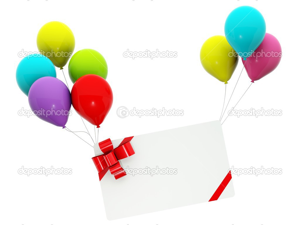 Empty greeting card with air balloons