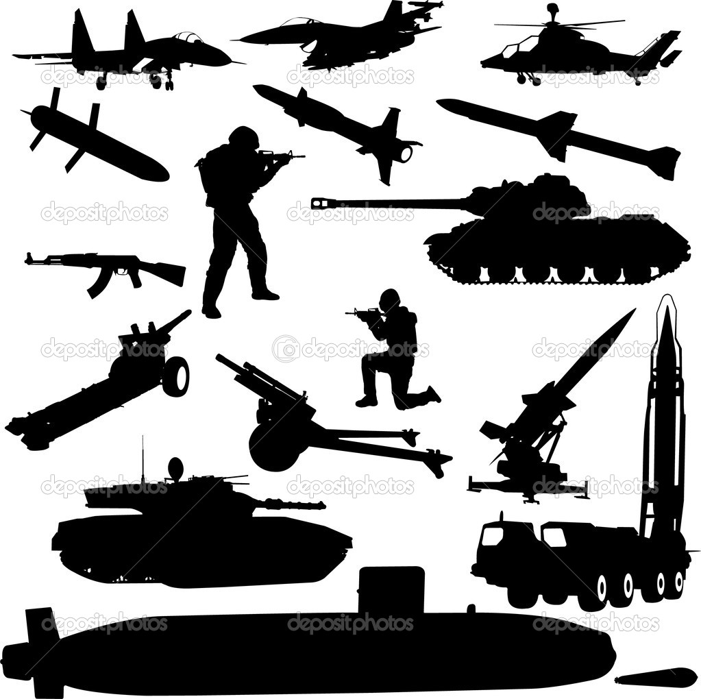 Military silhouette - vector stock vector