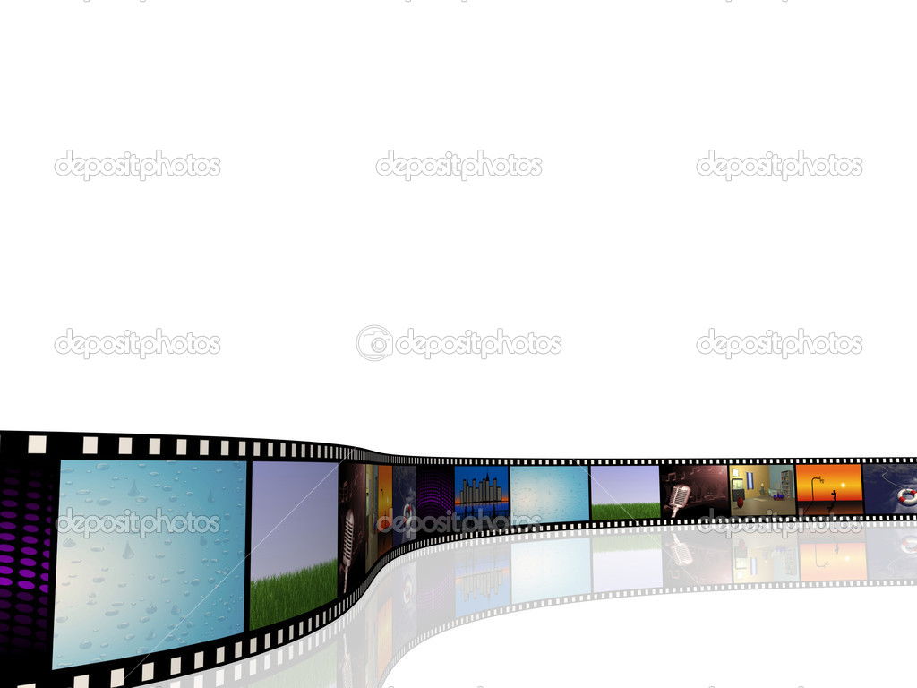 Image of a cinema reel with pictures on a white background.