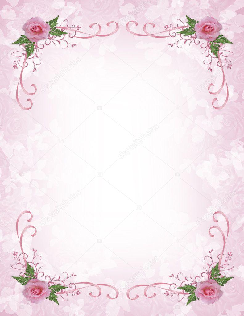 Pink roses Invitation border — Stock Photo © Irisangel #2866088
