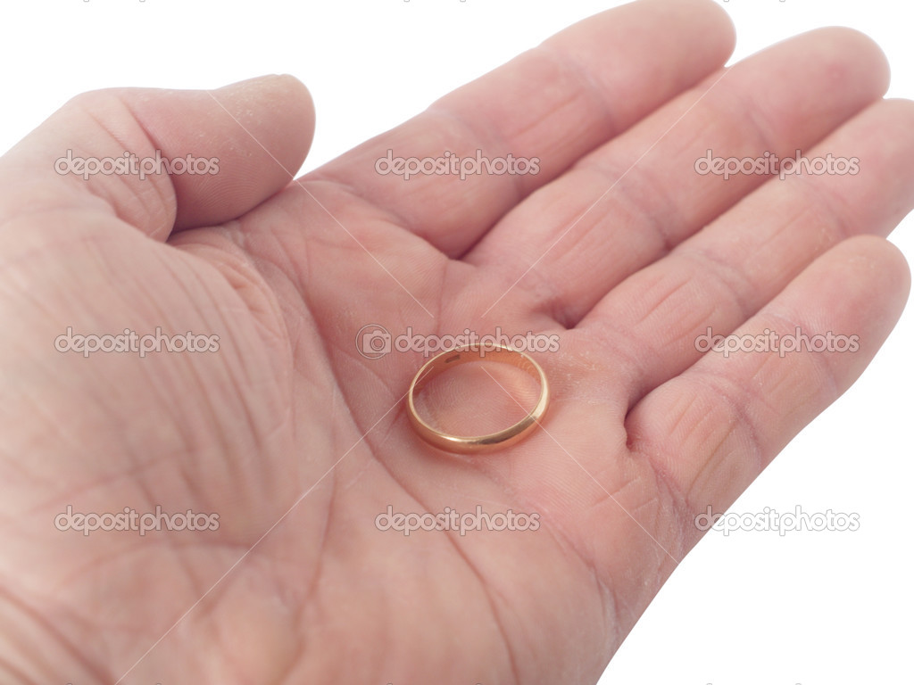 Wedding ring on a palm — Stock Photo © allmag #2758819