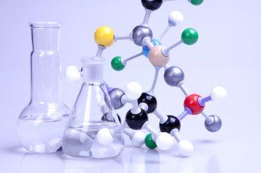 Molecular chain in lab. stock vector