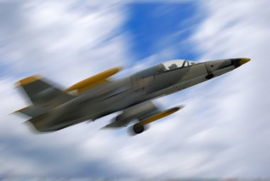 Fighter jet airplane in motion