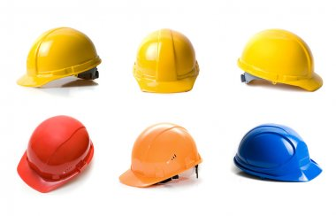 Different color helmets set isolated on white background stock vector