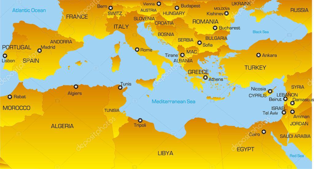 Cartina Fisica Del Mediterraneo.Mappa Del Mediterraneo Vettori Stock Immagini Disegni Mappa Del Mediterraneo Grafica Vettoriale Da Depositphotos