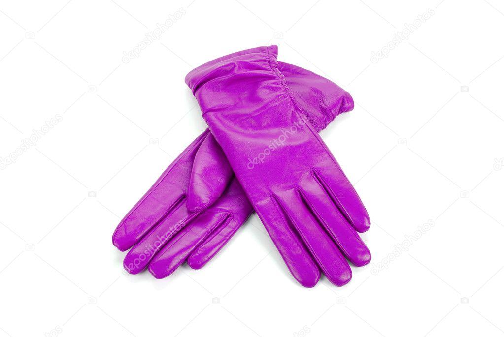 Fialové moderní žena kožené rukavice izolovaných na bílém — Fotografie od  ... 354c85ec14