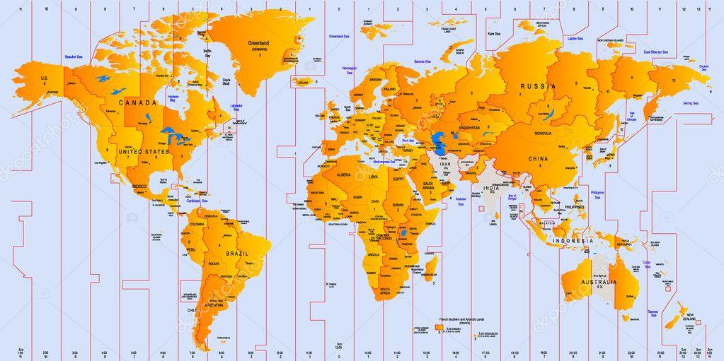 Timezone Map Stock Vector C Olinchuk 3142848
