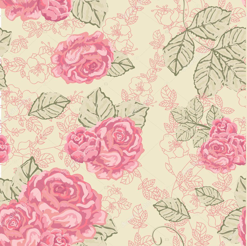 Patrones vintage rosa sin fisuras vector de stock for Imagenes retro vintage