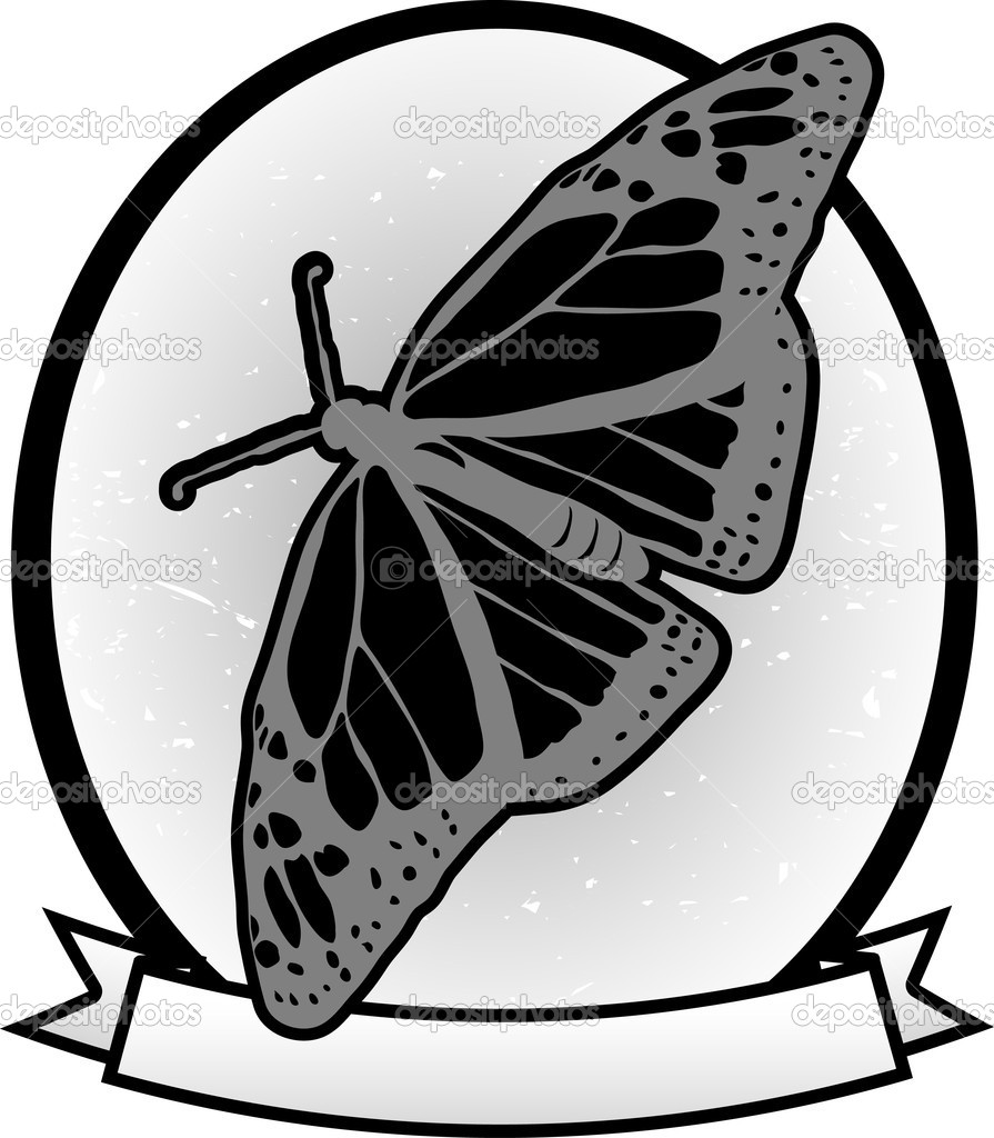 Illustrated Gray scale Monarch Butterfly