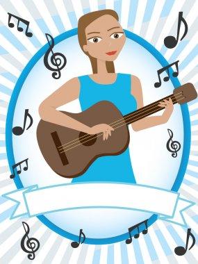 Cartoon girl playing acoustic guitar