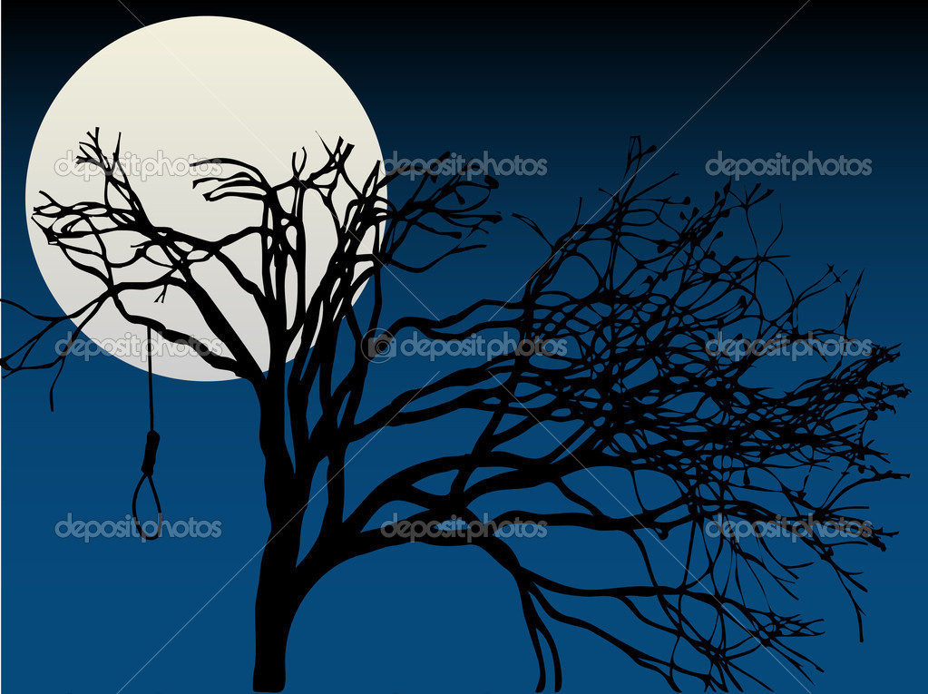 Spooky Full Moon highlight bare tree with hanging noose