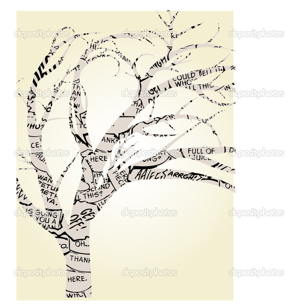 Single Tree Outlined by Comic Book Word Balloons Vector