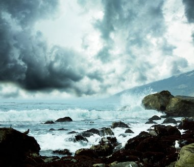 Sea in storm
