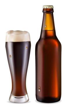 Beer in glass and dark bottle of bee