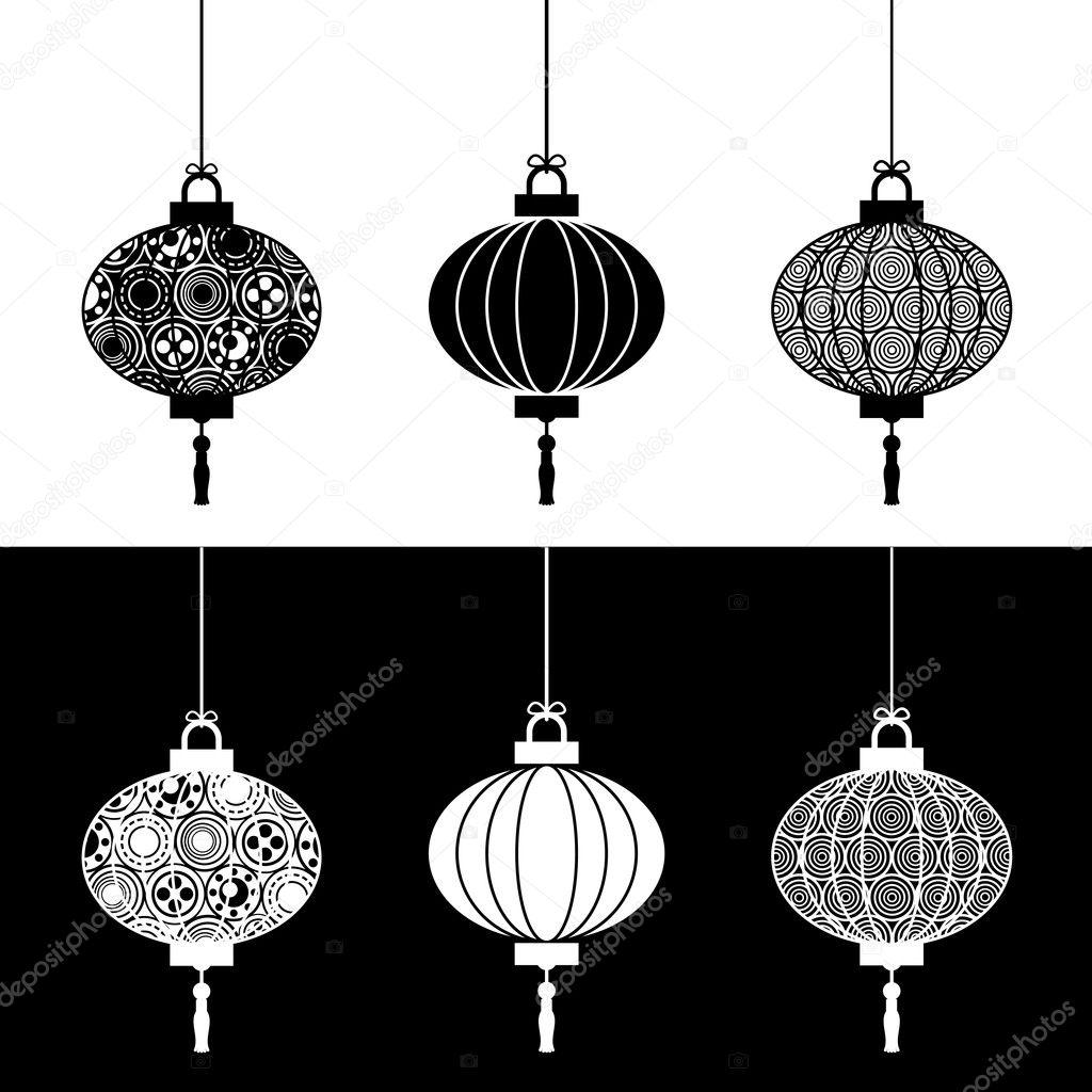 Black and white paper lanterns