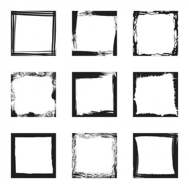 Black square distressed grunge frames isolated on white clip art vector