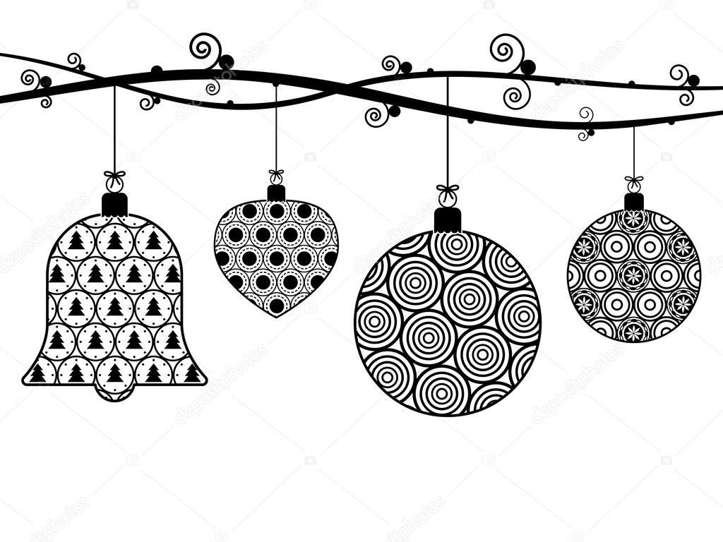 Christmas hanging decorations stock vector for Weihnachtskugeln vintage