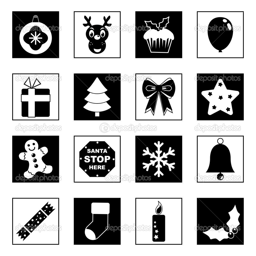 black and white christmas icons u2014 stock vector mattasbestos 3884361