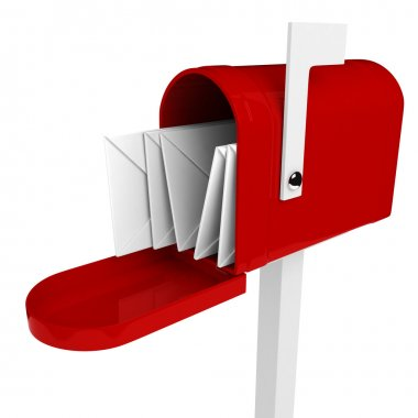 3d mail box with letter inside